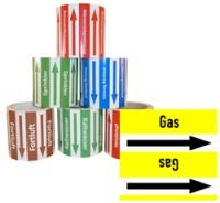 Rohrleitungsband Gas gelb/schwarz 100 mm x 10 m