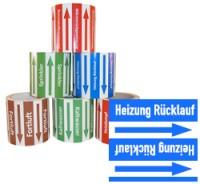 Rohrleitungsband Heizung Rücklauf blau/weiss 100 mm x 10 m