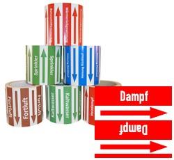 Rohrleitungsband Dampf rot/weiss 100 mm x 10 m