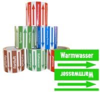 Rohrleitungsband Warmwasser grün/weiss 100 mm x 10 m