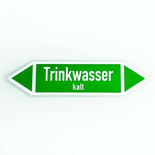 Richtungspfeil Trinkwasser kalt grün/weiss