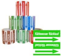 Rohrleitungsband Kühlwasser Rücklauf grün/weiss 100 mm x 10 m