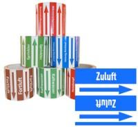 Rohrleitungsband Zuluft blau/weiss 100 mm x 10 m