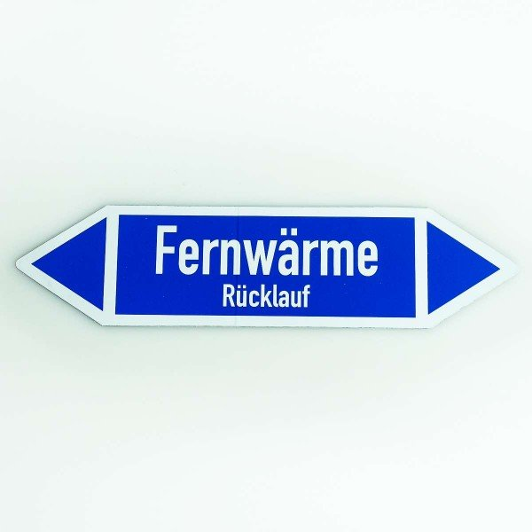 richtungspfeil fernw rme r cklauf blau weiss heizung sanit r k lte branche. Black Bedroom Furniture Sets. Home Design Ideas