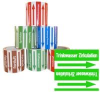 Rohrleitungsband Trinkwasser Zirkulation grün/weiss 100 mm x 10 m