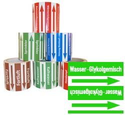 Rohrleitungsband Wasser-Glykolgemisch grün/weiss 100 mm x 10 m