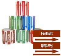 Rohrleitungsband Fortluft braun/weiss 100 mm x 10 m