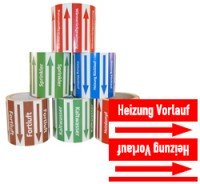 Rohrleitungsband Heizung Vorlauf rot/weiss 100 mm x 10 m